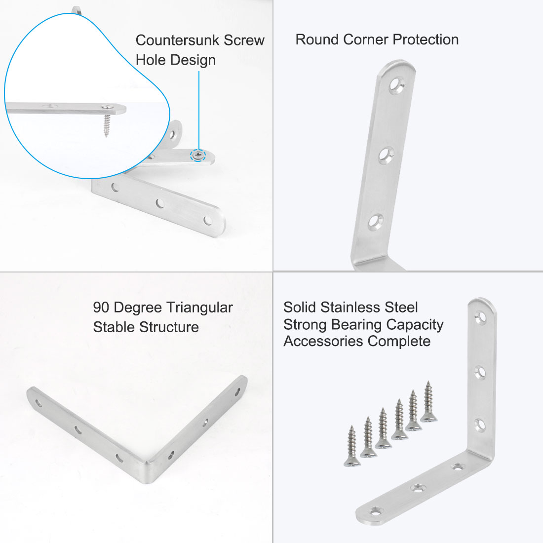 Angle Bracket Stainless Steel Brace Fastener Support w Screws 100 x 100mm, 6pcs - image 5 of 7