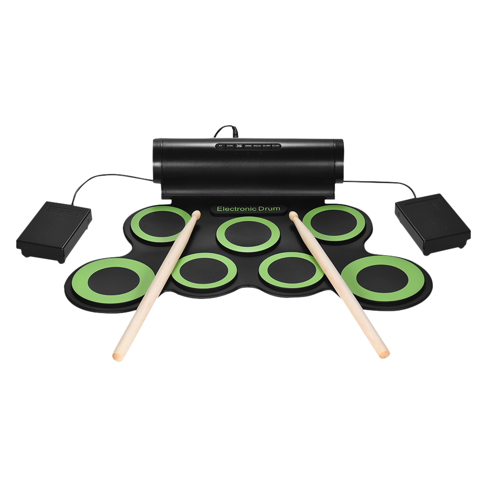 Portable Digital Stereo Electronic Drum Set 7 Silicon Pads USB Powered Built-in Speaker with Drumsticks Foot Pedals 3.5mm Audio Cable for Practice Beginners Kids