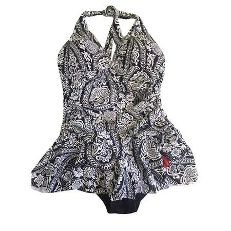 9e0943d0ab675 Rose Marie Reid - Rose Marie Reid Ladies' Swim Dress, White and Black  Halter, Small - Walmart.com