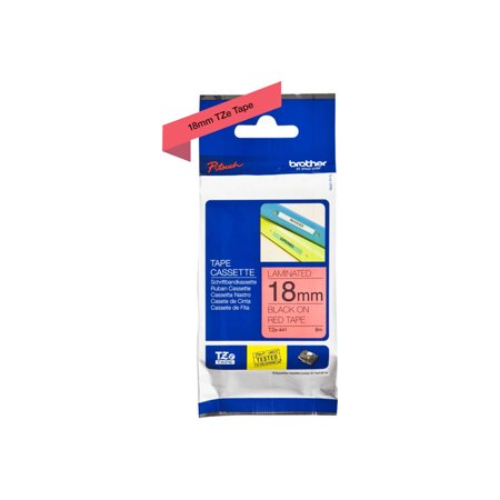 Brother P-Touch TZe Standard Adhesive Laminated Labeling Tape, 3/4u0022w, Black on Red