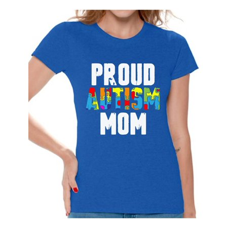 Awkward Styles Proud Autism Mom Shirts Autism Awareness Mom T-shirt Autism Gifts for Her Autistic Spectrum Awareness Tshirt Proud Mother Autistic Support Shirts for Women Autism Awareness T