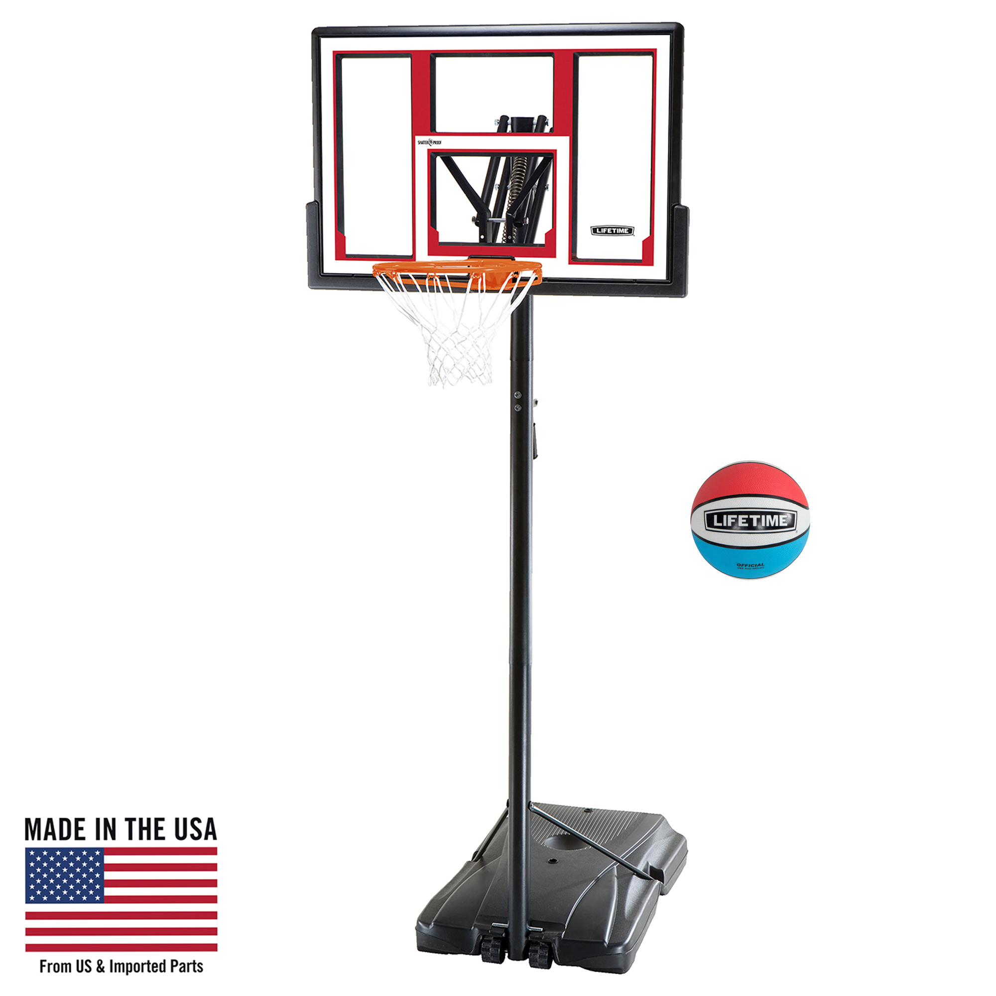 "Lifetime 48"" Shatterproof Portable One Hand Height Adjustable Basketball System with Basketball, 90491"