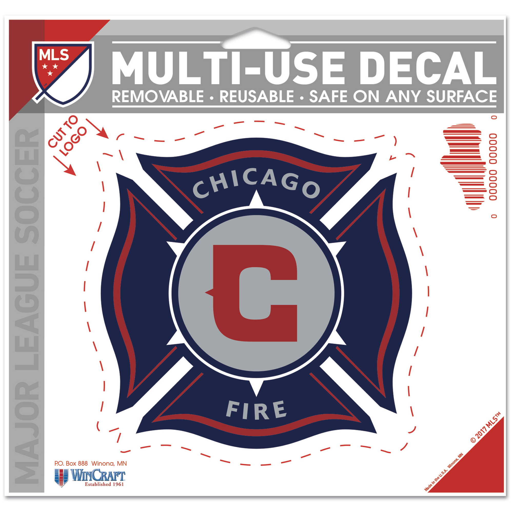 "Chicago Fire WinCraft 4.5"" x 5.75"" Multi-Use Cut to Logo Decal - No Size"
