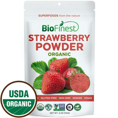Biofinest Strawberry Juice Powder - 100% Pure Freeze-Dried Antioxidants Superfood - USDA Certified Organic Kosher Vegan Raw Non-GMO - Boost Digestion Weight Loss - For Smoothie Beverage Blend (4