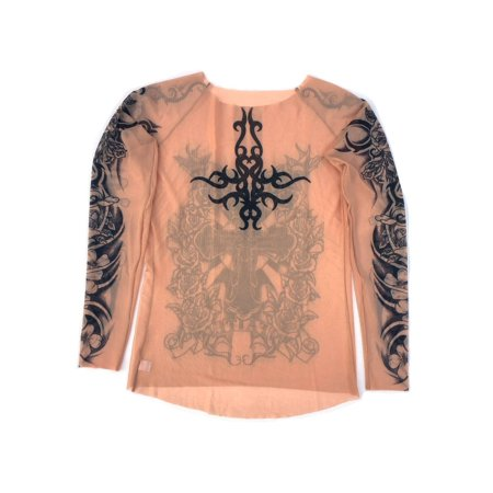 Wild Rose Ladies Flamenco Pure Faith Tattoo Mesh Shirt, Tan](Faith Tatoos)