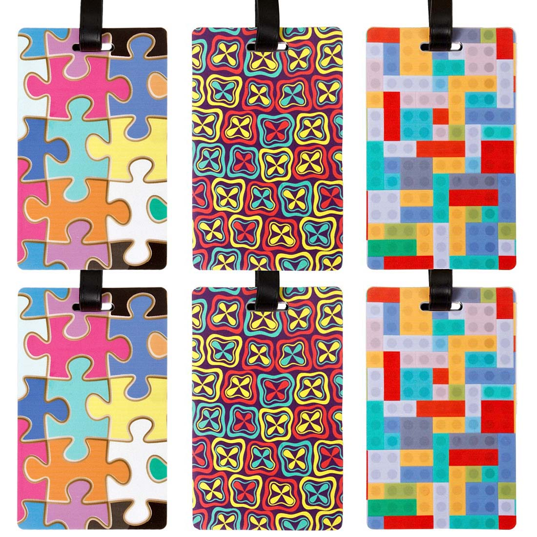 Bundle Monster 6pc Silicone Mixed Color Design Luggage Bag Tags - Set 4