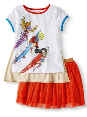 99c8d6ea912c5 Product Image Superhero Girls' Detachable Cape Tee and Tutu Skirt, 2-Piece  Outfit Set (
