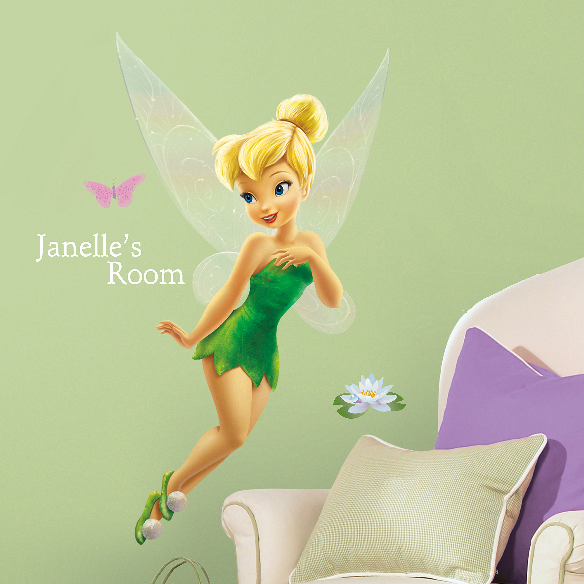 RoomMates Disney Fairies Tinker Bell Peel-and-Stick Giant Wall Decal with Personalization