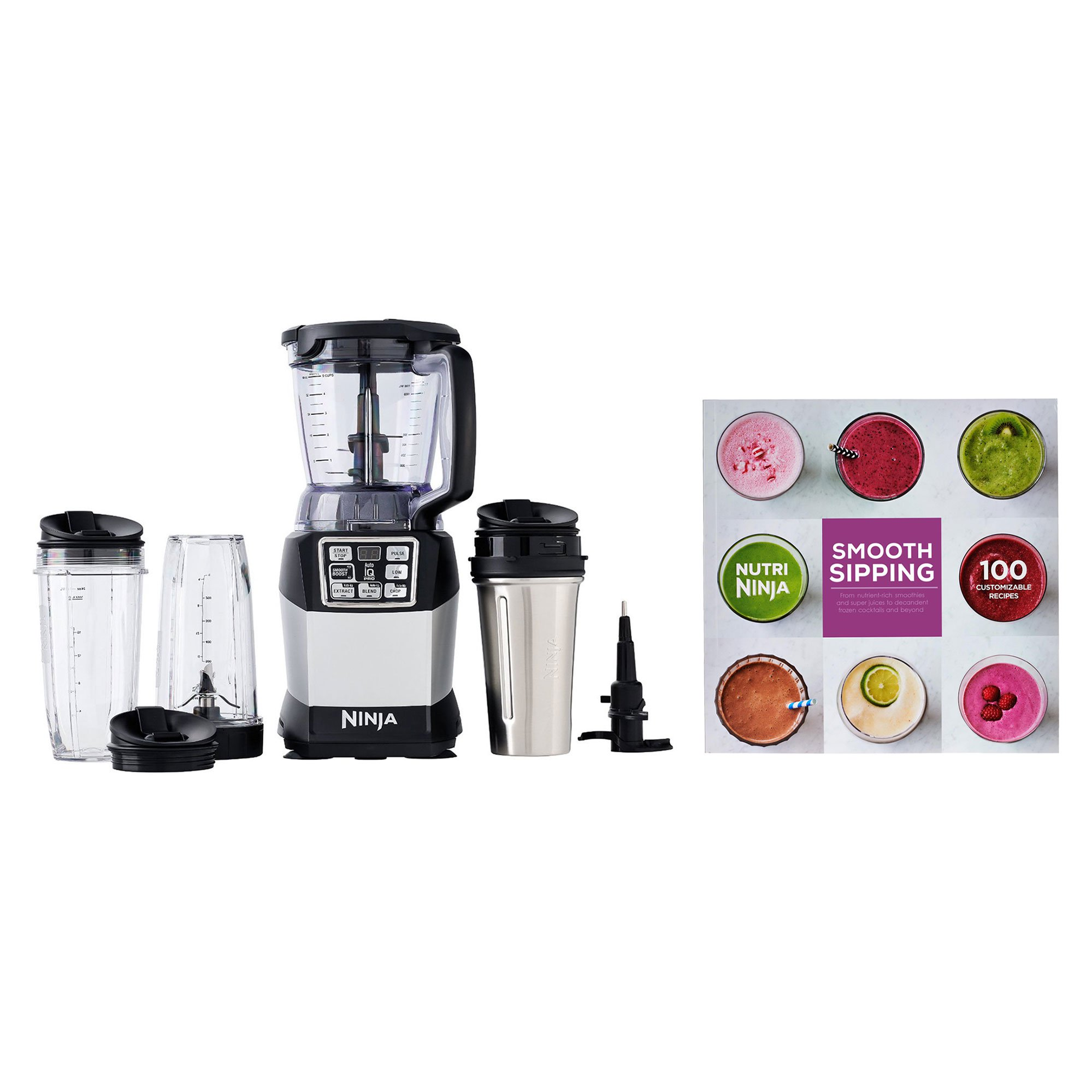 Ninja Auto-IQ Nutri Ninja 40 Ounce Compact Blender System with 100 Recipe Book