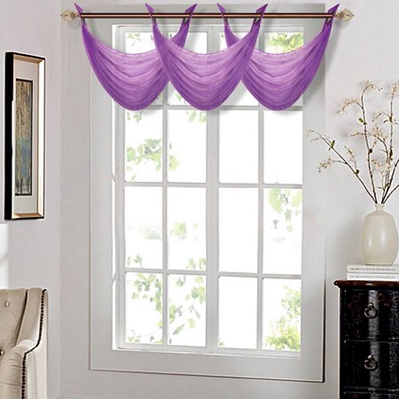K36 PLUM 1-PC Solid Voile Sheer WATERFALL Valance Window Treatment With 2 Grommets On Top 55