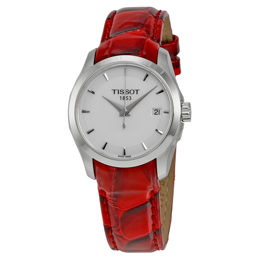 Tissot Women's Couturier 32mm Red Leather Band Steel Case Quartz White Dial Watch T035.210.16.011.01