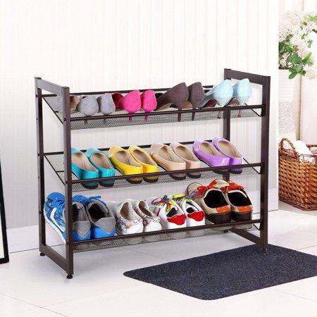 - Ktaxon 3-Tier Stackable Metal Shoe Rack Adjustable Organizer Shelf Closet Entryway
