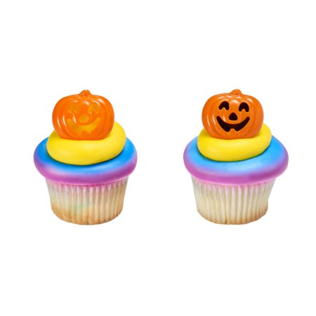 Halloween Pumpkin Decorated Cakes (24 Stacked Pumpkin Halloween Cupcake Cake Rings Birthday Party Favors Cake)