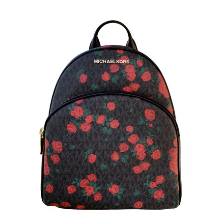 - Michael Kors Abbey Medium Backpack Black MK Red Rose