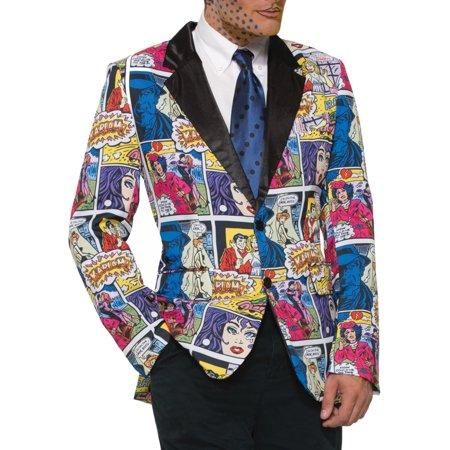 Adult's Mens Pop Art Comic Print Blazer Jacket Costume Accessory
