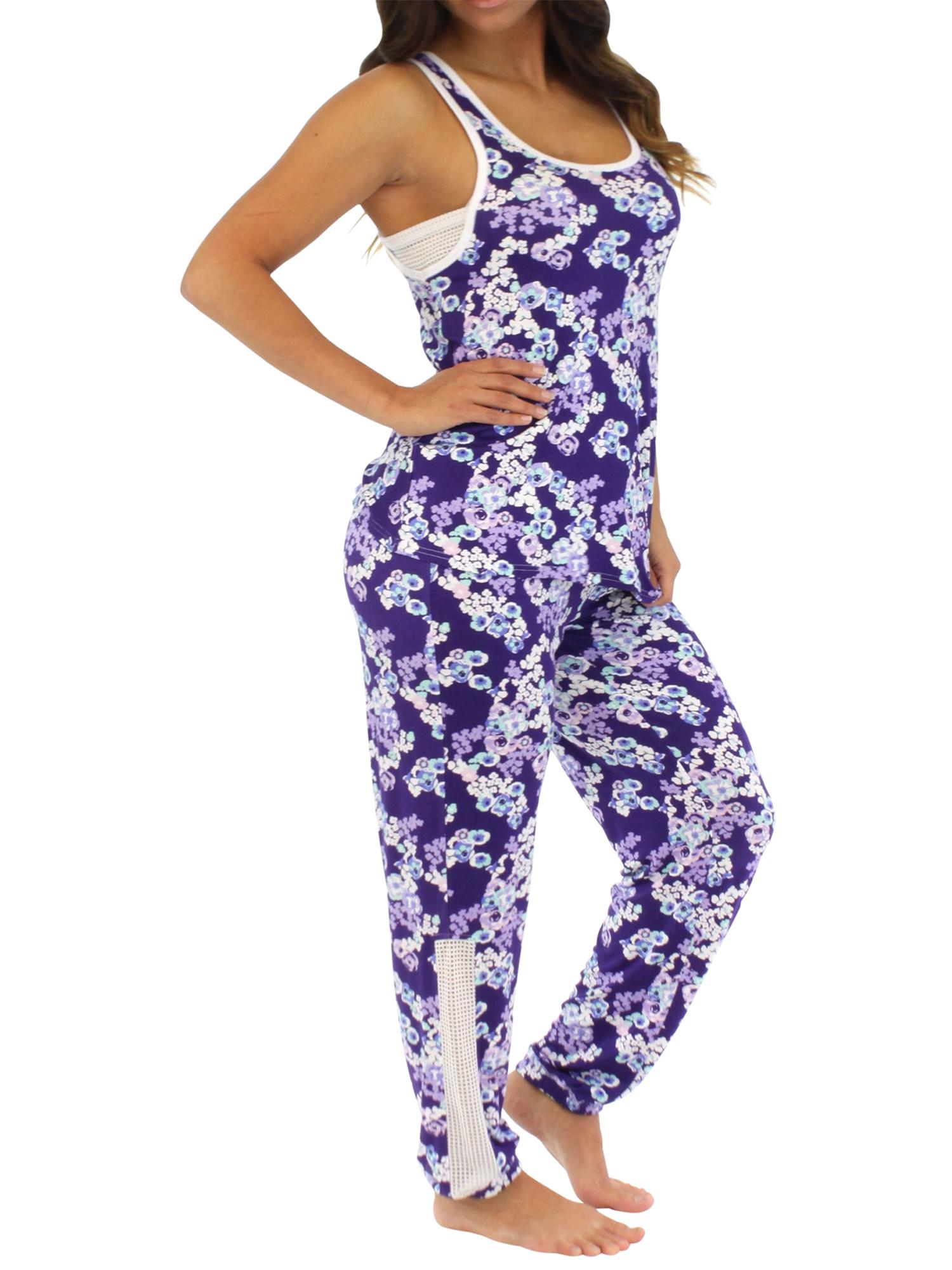 Pajama Heaven Women's Sleepwear Lightweight Tank and Pant Pajama Set with Mesh