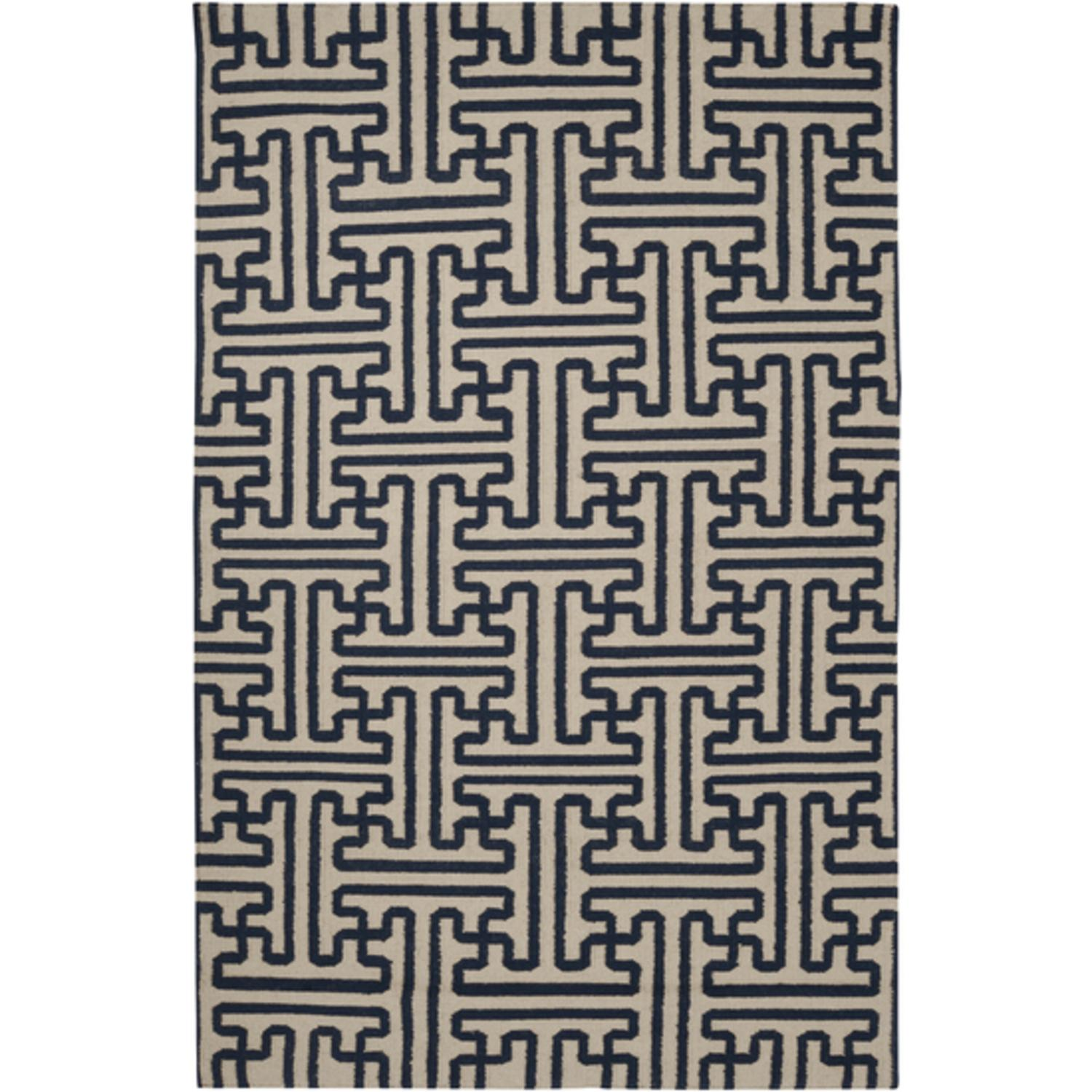 5' x 8' Block Pillars Mossy Gold and Dark Slate Blue Wool Area Throw Rug