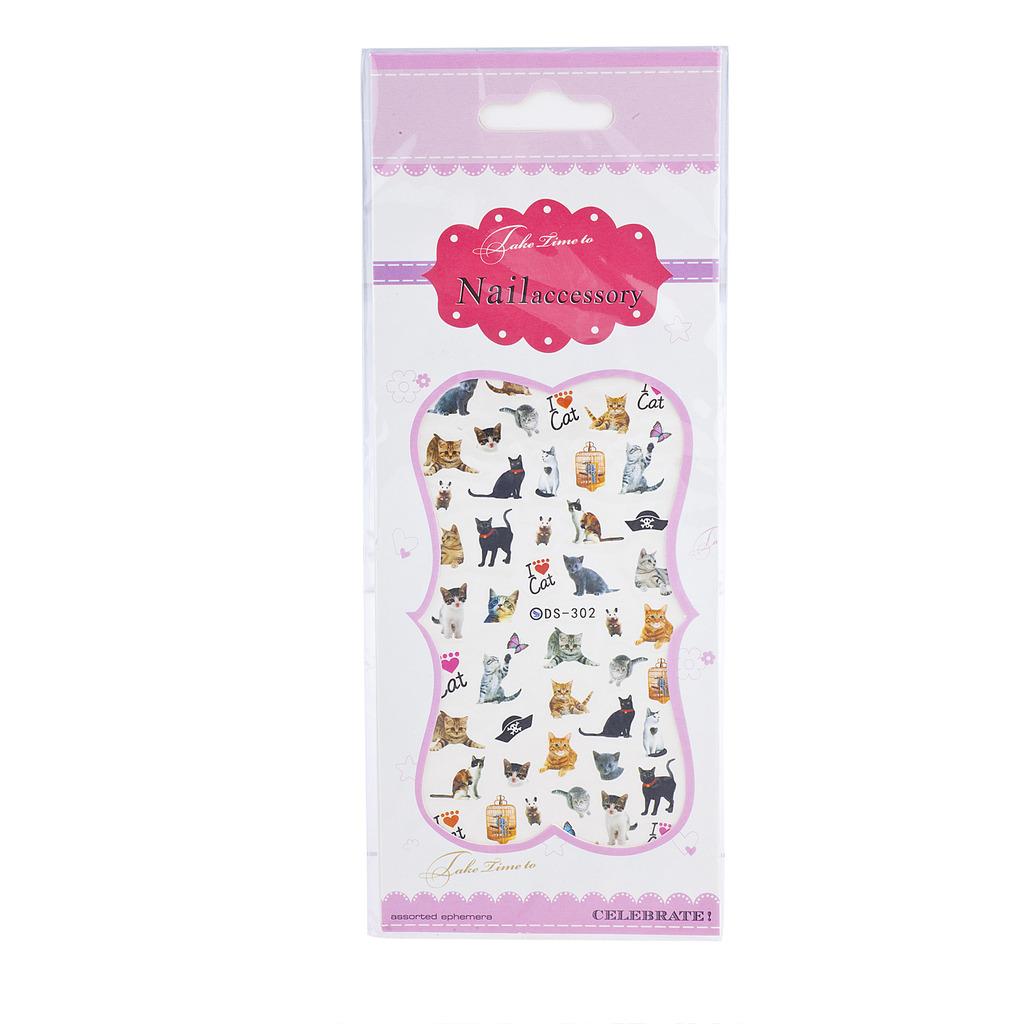 Lux Accessories Emoji Pet Cat Kitten Nail Stickers Nail Decal 3D Nail Art