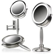 Ovente 3-in-1 Makeup Mirror (Tabletop, Wall-Mount, Handheld) with 3 SmartTouch Light Tones (Cool, Warm, Daylight), Cordless, 8.5 inch, 1x/5x Magnification, Nickel Brushed (MFM85BR1X5X)