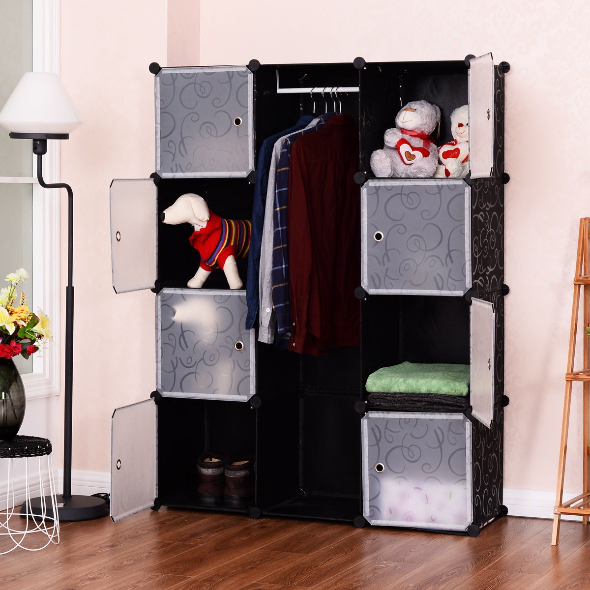 Costway DIY 12 Cube Portable Closet Storage Organizer Clothes Wardrobe Cabinet W/Doors