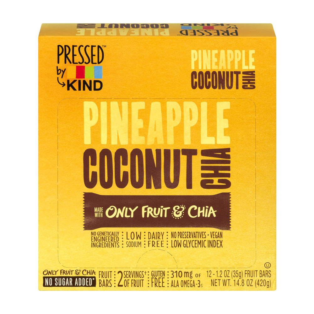 Pressed by KIND Pineappe Coconut Chia Fruit Bars - 12 CT