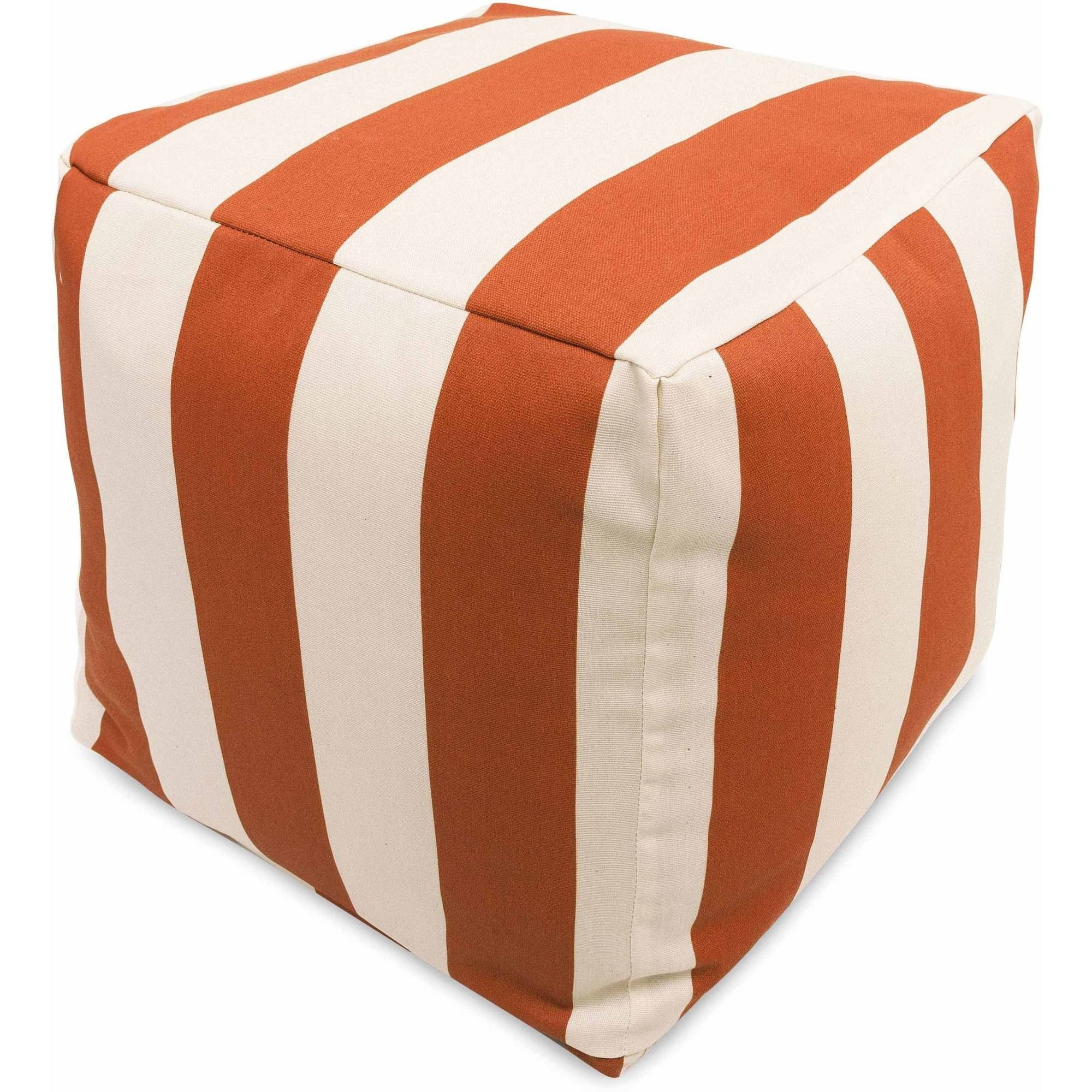 Majestic Home Goods Vertical Stripe Bean Bag Cube, Indoor/Outdoor