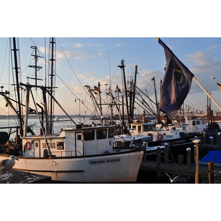 Canvas Print Boats Lobster Port Seafood Commercial Fishing Stretched Canvas  10 x 14