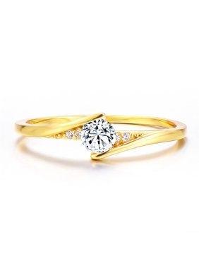 KABOER Exquisite 14K Gold Round Cut 1Ct White Sapphire Diamond Engagement Ring Unisex Personality Jewelry