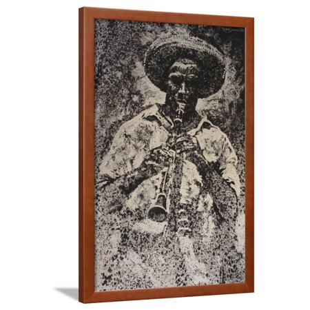 Man Playing Instrument Framed Print Wall Art By Michael