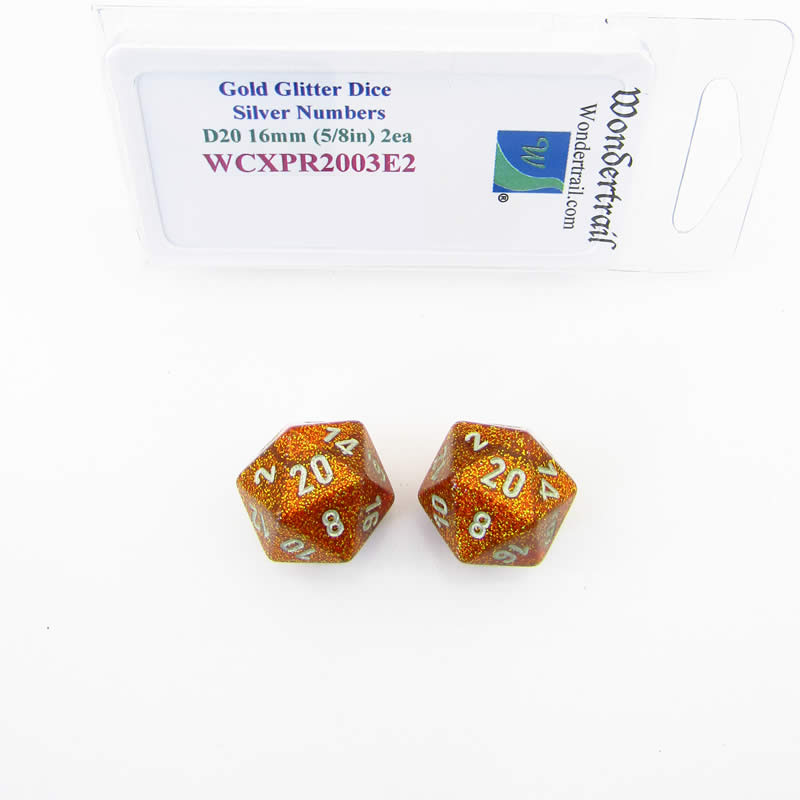 Gold Glitter Colored Dice with Silver Colored Numbers D20 Aprox 16mm (5/8in) Pack of 2 Wondertrail