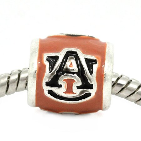 Auburn University Football Team Logo European Bead For European Charm Bracelets (Football Beads)