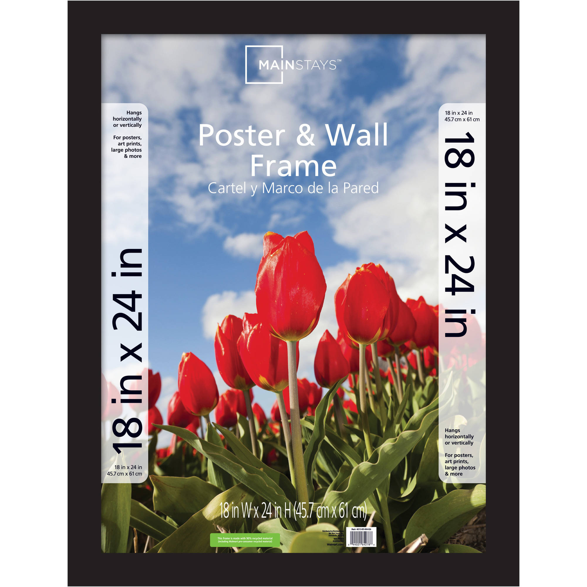 Mainstays 18x24 Wide Gallery Poster and Picture Frame, Black by
