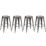 "BTEXPERT® 4-Pack 30"" Solid Steel Stacking Industrial Distressed Metal Dining room Modern Steel BarStool (Set of 4 Bar Stool)"