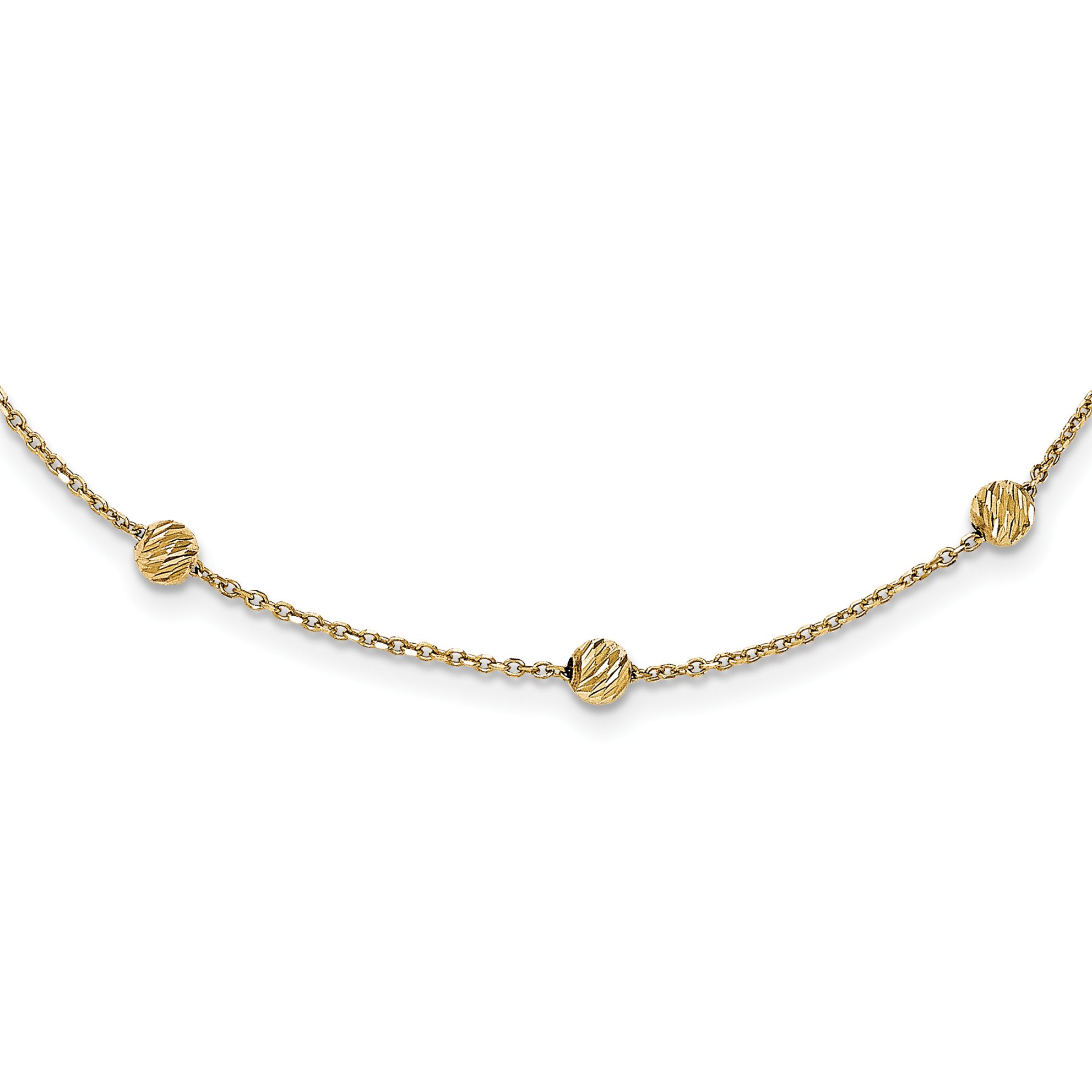 14k Yellow Gold Beads Station Chain Necklace Pendant Charm Bead Fine Jewelry For Women Gift Set