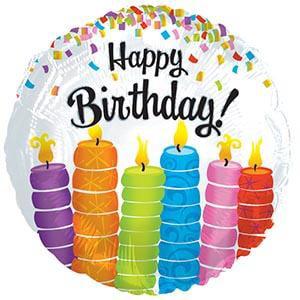 Happy Birthday Colorful Candles 17in Mylar Balloon (1/Pkg) Pkg/25 - Happy Retirement Balloons