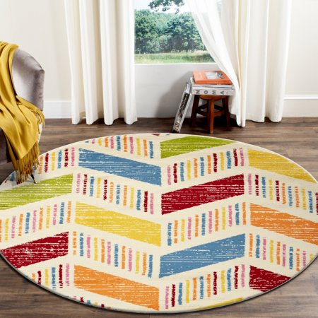 LR Home Fun & Play Whimsical Cream / Multi 4 ft. 8 in. Kids 3D Arrows Stripes Chevron Round Indoor Area Rug ()