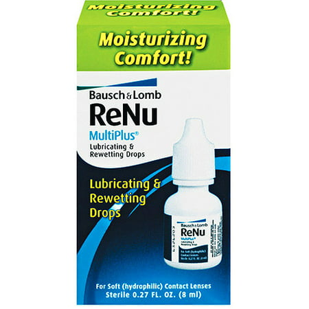 Bausch & Lomb Renu Multiplus Contact Lens Lubricating & Rewetting Drops, .27 Fl - Rx Halloween Contact Lenses