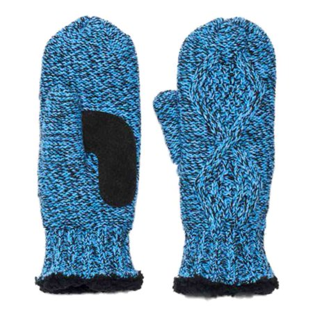 Cable Mitten - Isotoner Womens Blue Marled Cable Knit Mittens with Sherpasoft Lining
