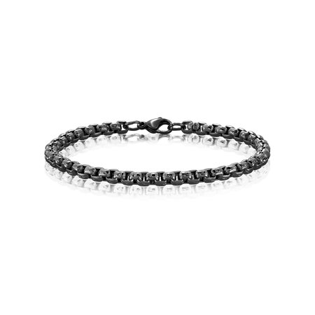 Black Plated Stainless Steel Textured Box Chain Bracelet (5mm) -