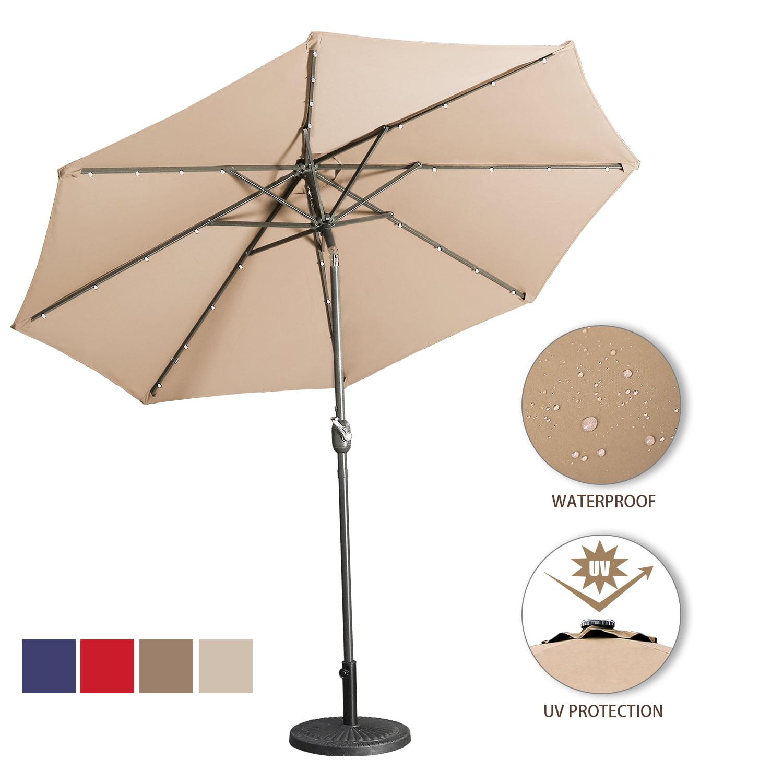 9 Ft Led Lighted Patio Outdoor Umbrella Solar Power Market Table Fade Resistant Umbrella With Push Button Tilt Crank And 8 Sturdy Ribs Sand Walmart Com Walmart Com