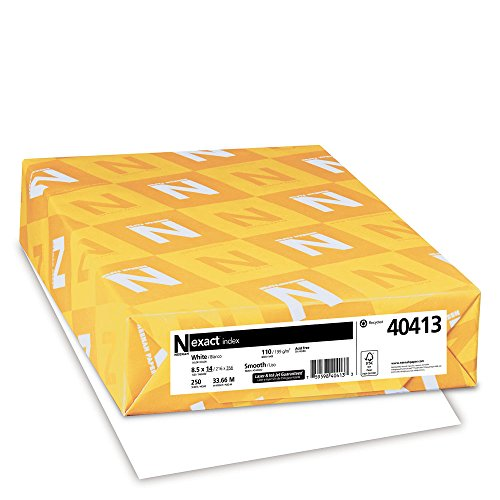 "Exact Index Cardstock, 8.5"" x 14"", 110 lb/199 gsm, White, 94 Brightness, 250 Sheets (40413)"
