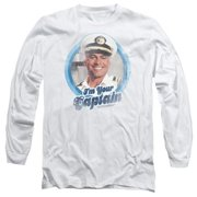 Trevco Love Boat-I Am Your Captain - Long Sleeve Adult 18-1 Tee - White, Small