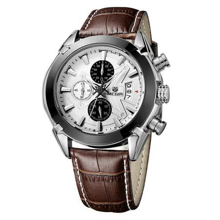Megir Branded New Fashion Man Watch Genuine Leather Band 3 Small Dials Quartz Wristwatch Analog Display Date Chronograph Black/Brown Relogio Masculino Date Display Enamel Dial