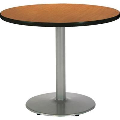 KFI 36 Round Pedestal Table. Medium Oak HPL Top, Round Silver Steel Base
