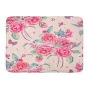 GODPOK Green Vintage Garden Watercolor Natural with Pink Flowers Camellia and Butterflies Botanical on White Rug Doormat Bath Mat 23.6x15.7 inch