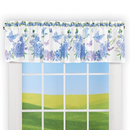 Bird Floral Blue and Purple Wreath Window Valance - Spring Decor for Bedroom