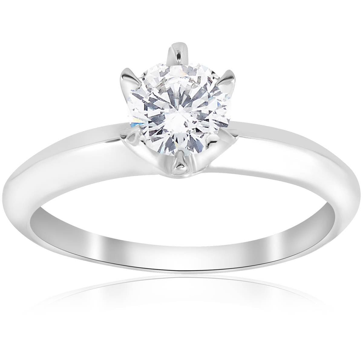 Solitaire Engagement Ring Band Vintage Prong Set Diamond 0.55 Ct 14Kt White Gold by Pompeii3