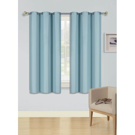 - (SSS) 2-PC Light Blue Solid Blackout Room Darkening Panel Curtain Set, Two (2) Window Treatments of 37