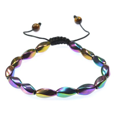 Fashion Jewelry Men Women Magnetic  Rainbow Hematite Gemstone Bracelet   For Healing And Energy   Arthritis Pain Relief