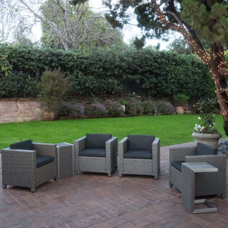 Eden Outdoor 6-Piece Wicker Club Chairs with Cushions Tables, Dark Grey-Mixed Black-Natural Finish